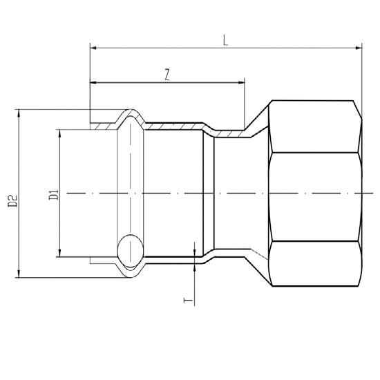 Соединитель прямой с переходом на внутреннюю резьбу, Ver-pro-01
