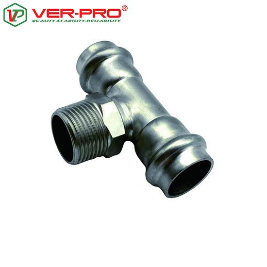 Тройник с переходом на наружную резьбу из нержавеющей стали (P-G-P), Ver-pro