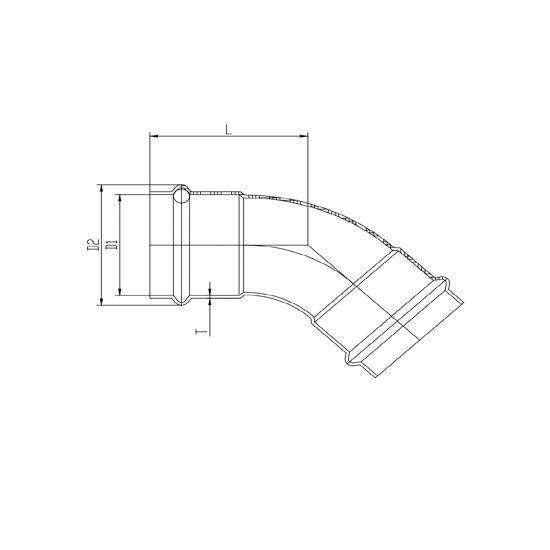 Угольник 45°(раструб-раструб)-01, Ver-pro