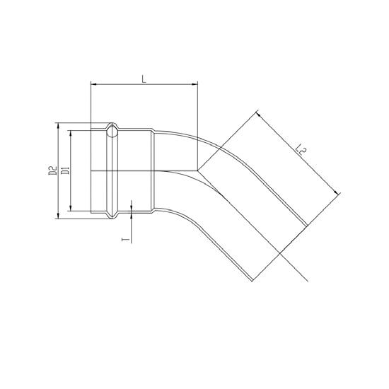 Угольник 45° (раструб-труба)-01, Ver-pro