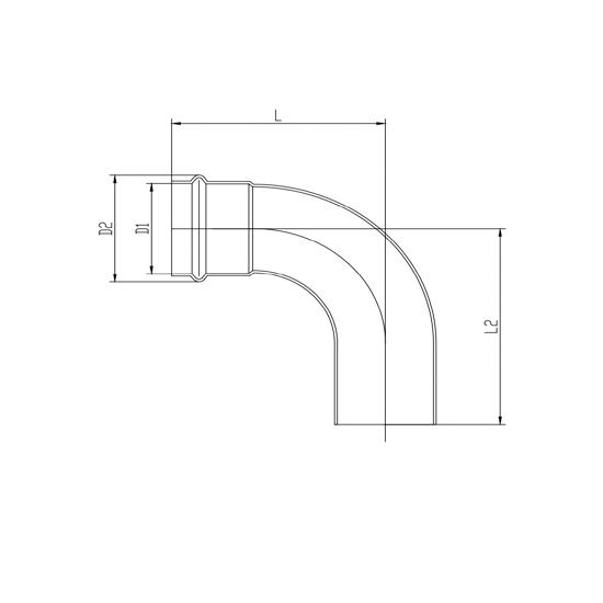 Угольник 90°(раструб-труба)-01, Ver-pro