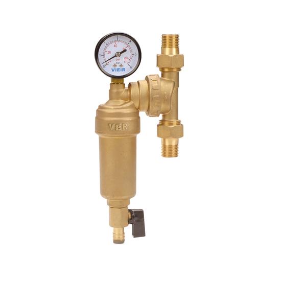 Фильтр свободного вращения с манометром для горячей воды, JH14-Vieir