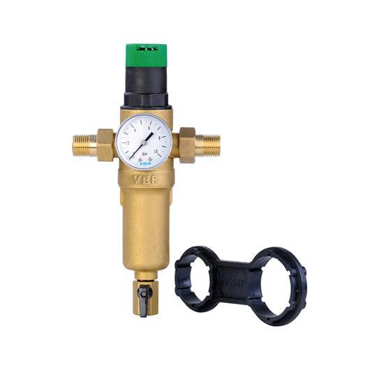 Фильтр с регулятором давления и манометром для горячей воды, JH15-Vieir