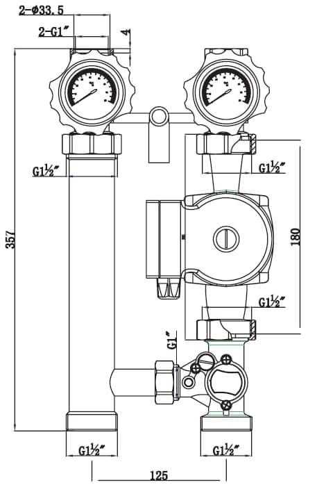 Насосная группа прямого контура, VR216- Vieir-схема